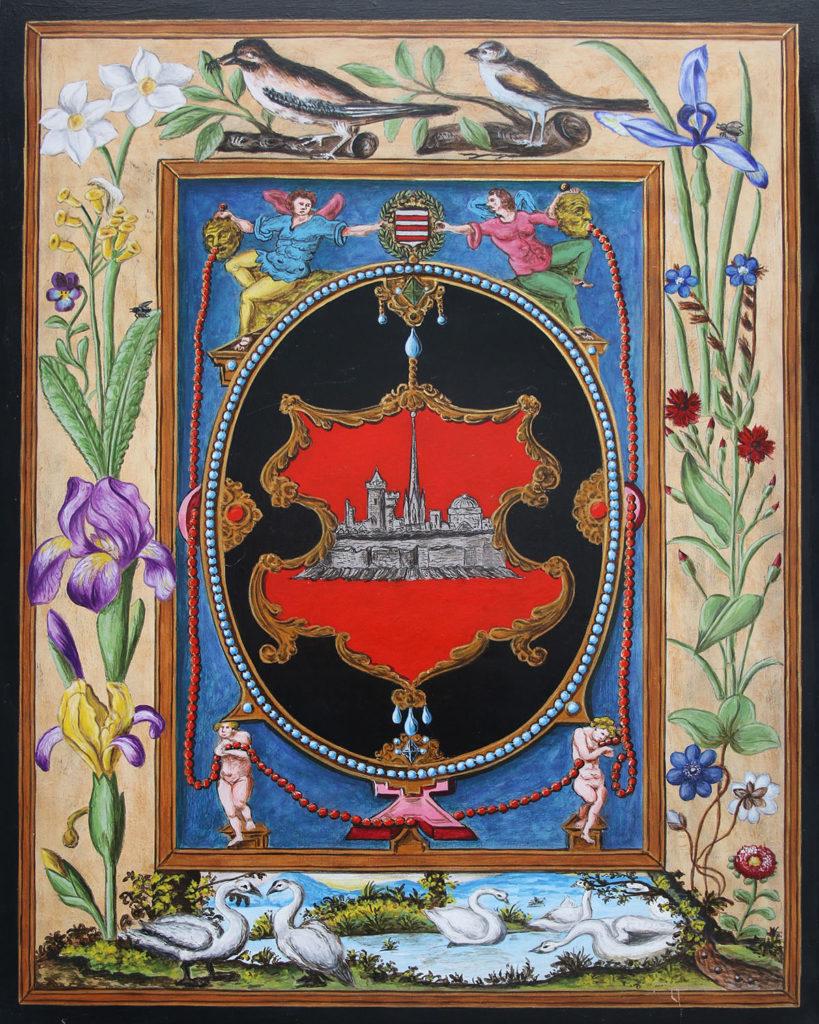 Représentation en tableau de Croÿ des armoiries de Mons.