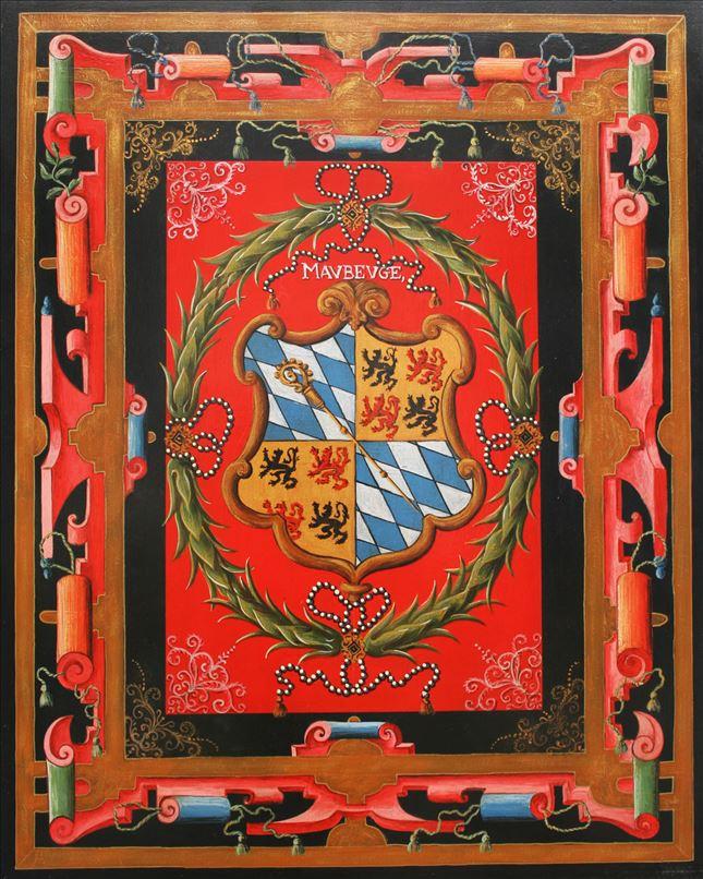 Représentation en tableau de Croÿ des armoiries de Maubeuge.