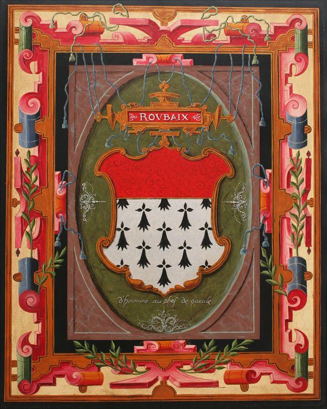 Représentation en tableau de Croÿ des armoiries de Roubaix.