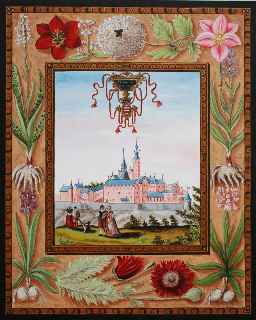 Vue ancienne en miniature de Croÿ du Château de Beaumont, en Belgique.