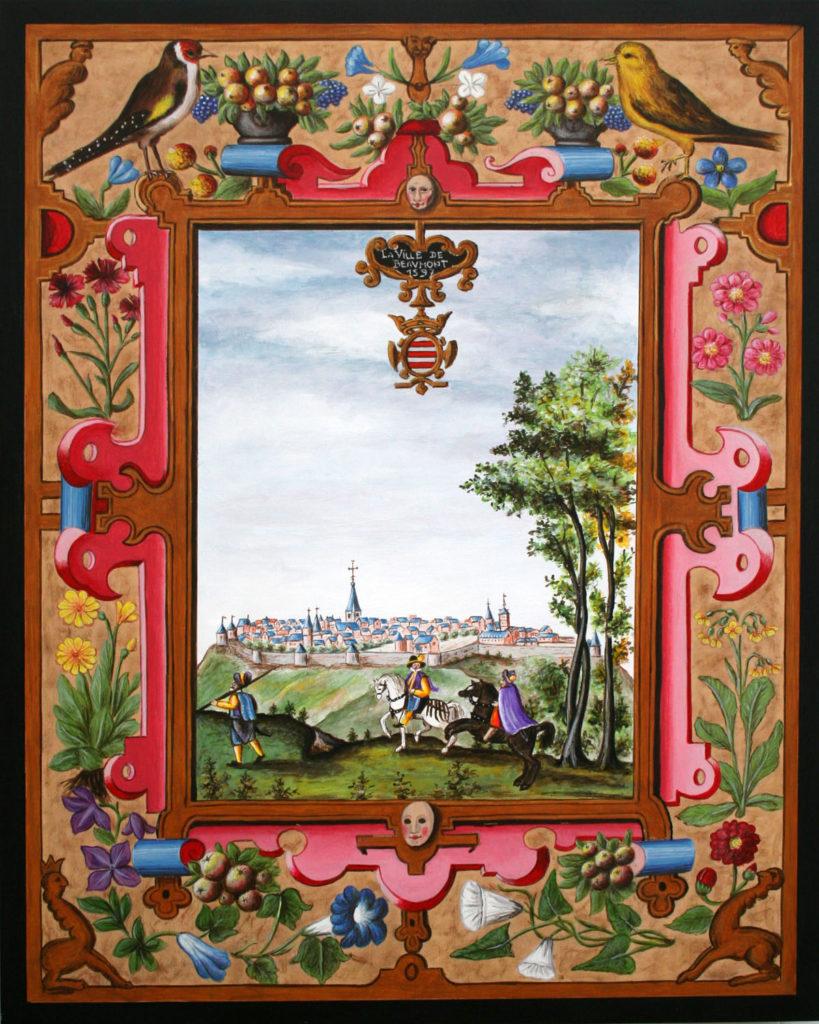 Vue ancienne en miniature de Croÿ de la ville de Beaumont, en Belgique.