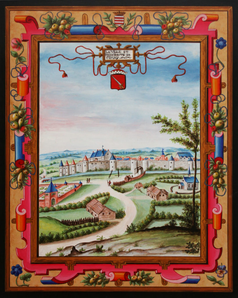 Vue ancienne en miniature de Croÿ de la ville de Chimay et le Château, en Belgique.