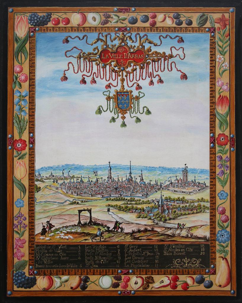 Vue ancienne de la ville d'Arras, issue des albums de Croÿ