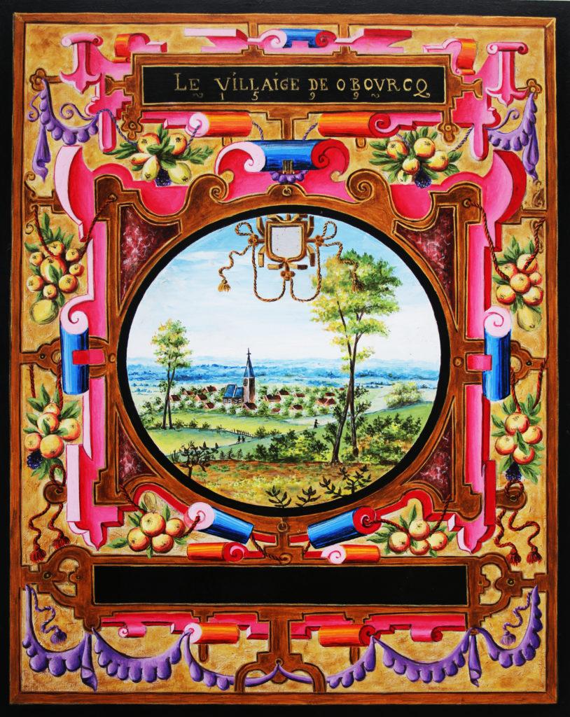 Vue ancienne de la ville d'Obourg en Belgique, issue des albums de Croÿ