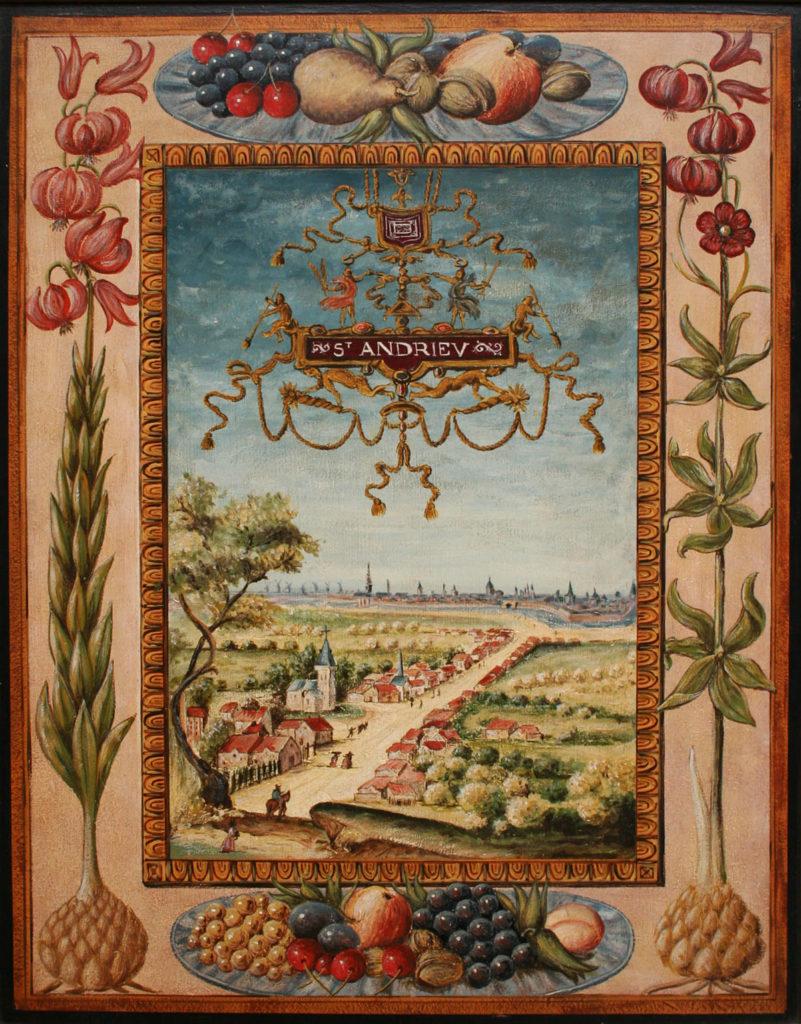 Vue ancienne de la ville de Saint-André, issue des albums de Croÿ