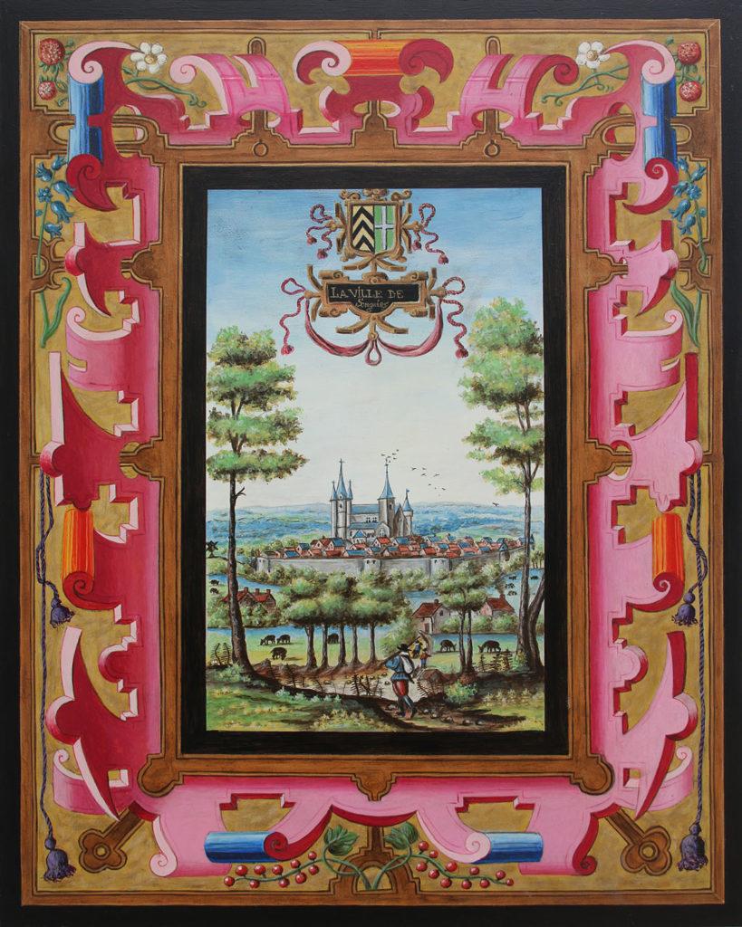 Vue ancienne de la ville de Soignies en Belgique, issue des albums de Croÿ
